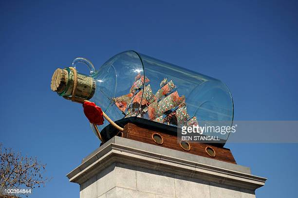 An artwork entitled 'Nelson's Ship in a Bottle' by AngloNigerian contemporary artist Yinka Shonibare is unveiled on the fourth plinth in Trafalgar...