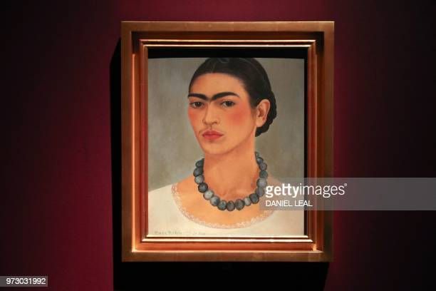 An artwork entitled 'Selfportrait with Necklace' by Frida Kahlo Detroit and New York USA is displayed during an exhibition entitled 'Frida Kahlo...