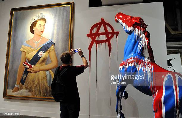 An artwork featuring Queen Elizabeth II and the anarchy symbol by controversial Los Angeles based French pop artist Thierry Guetta aka Mr Brainwash...