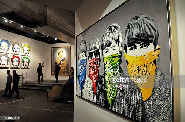 An artwork featuring The Beatles by controversial Los Angeles based French pop artist Thierry Guetta aka Mr Brainwash is pictured at the Old Sorting...