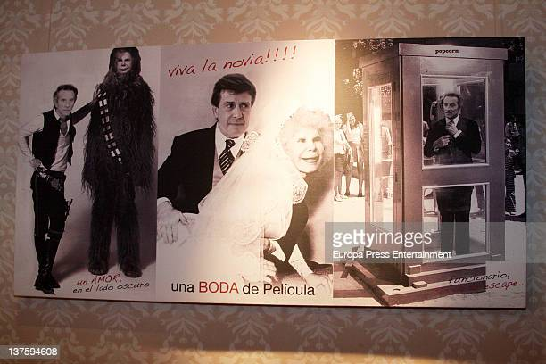 An artwork is displayed during the Pop Art exhibition of Duchess of Alba Cayetana FitzJames Stuart are seen at Oquendo Palace on January 23 2012 in...