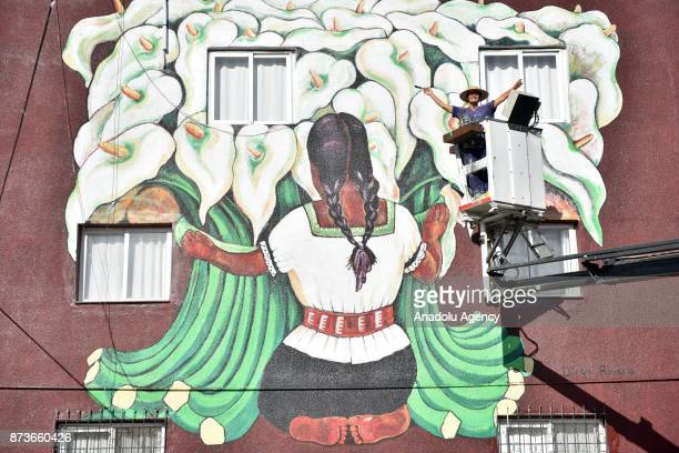 An artwork is drawn on the wall of a building in Mersin province of Turkey on November 13 2017 Artworks of world famous artists like Vincent Van Gogh...