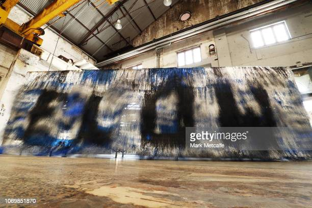 An artwork is seen during the Australian premiere of Nick Cave's solo exhibition 'Until' at Carriageworks on November 20 2018 in Sydney Australia