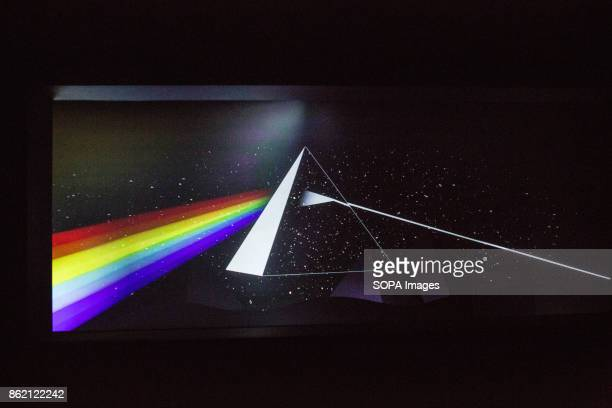 An artwork issued from the album cover The Dark Side of the Moon released in 1973 is seen during the Pink Floyd exhibition The Pink Floyd exhibition...