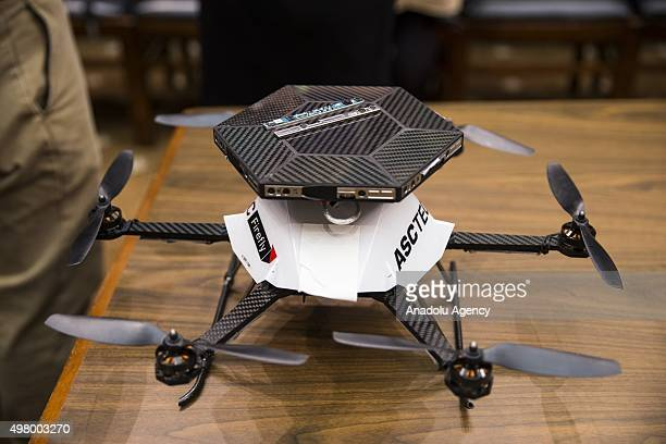 An AscTec Firefly drone outfitted with Intels RealSense technology on display during a House Commerce Manufacturing and Trade Subcommittee hearing on...