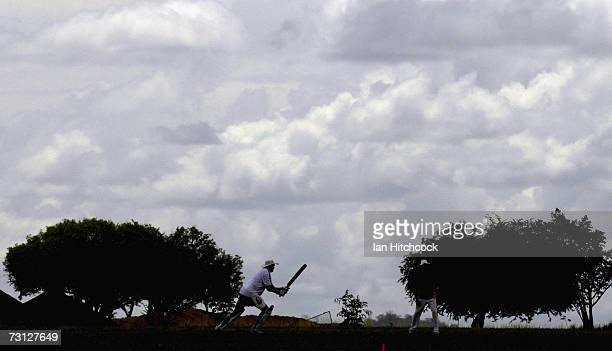 An ashes competitor hits out during the Goldfield Ashes January 26 2007 in Charters Towers Australia Every Australia Day weekend the small outback...