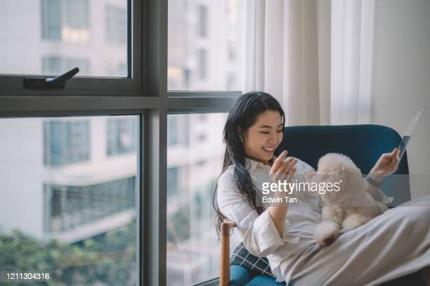 an asian chinese teenager girl with her toy poodle in the living room using digital tablet - candid forum stock pictures, royalty-free photos & images