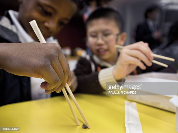An Asian student helps his school mate to use chopsticks to pick up a difficult piece of very thin dried fish tail as part of the learning experience...