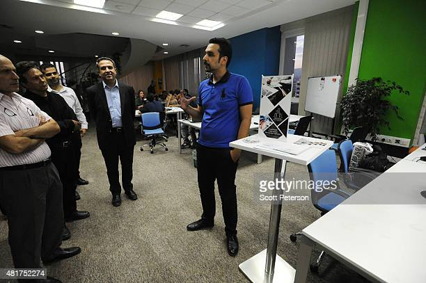 An aspiring Iranian hightech entrepreneur presents his real estate app idea at Avatech a technology incubator company and startup accelerator in...