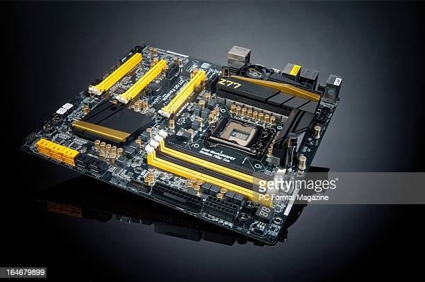An Asrock Z77 OC Formula motherboard photographed during a studio shoot for PC Format Magazine August 28 2012