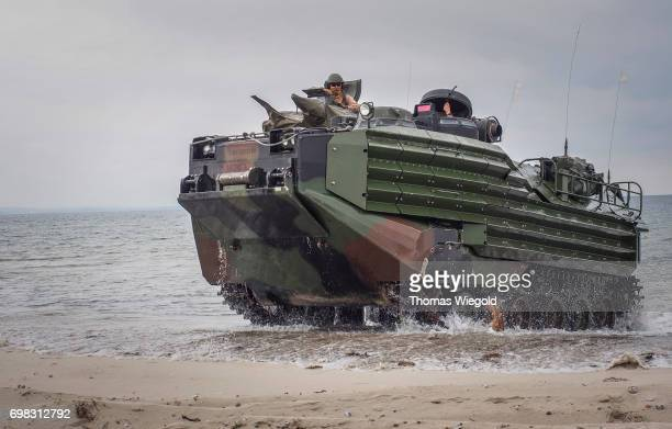 An Assault Amphibious Vehicles drives to the beach during an Amphibious Landing Exercise on June 08 2017 in Oldenburg Germany