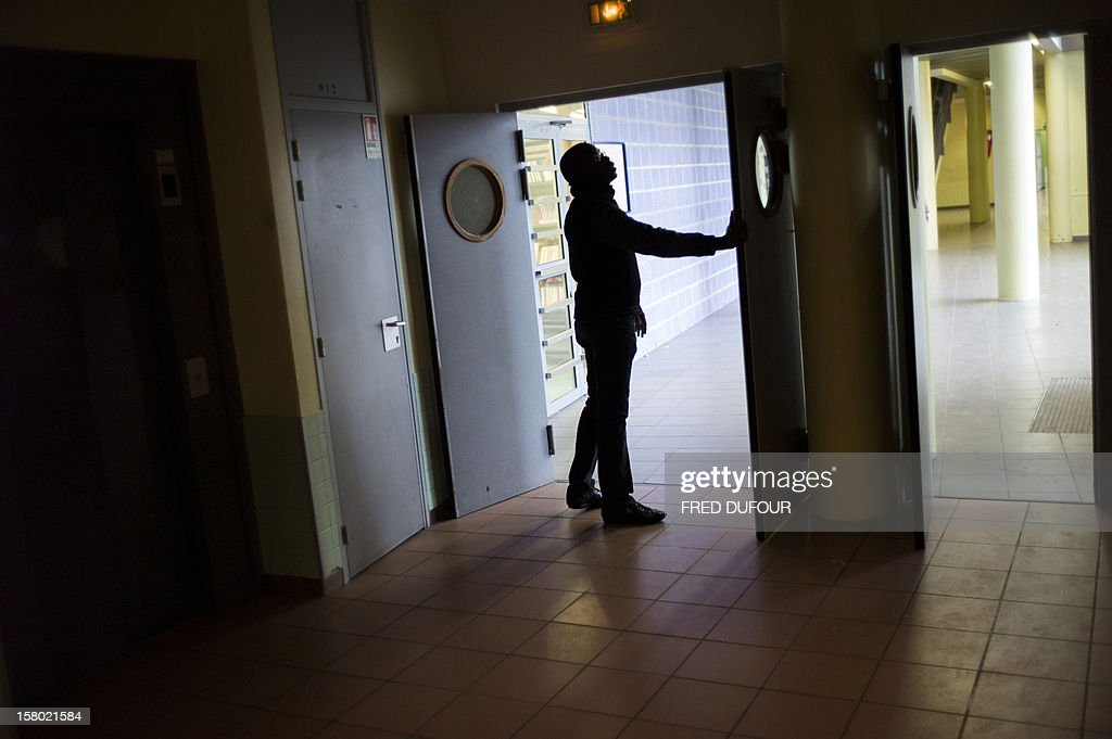 An assistant (APS) in charge of prevention and security patrols in the corridors, at the Maurice Utrillo high school on December 3, 2012 in Stains, northeast of Paris.