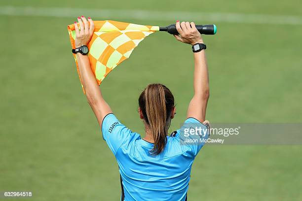 An assistant referee is seen during the round 14 WLeague match between the Western Sydney Wanderers and Perth Glory at Popondetta Park on January 29...