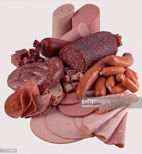 an assortment of different cold meats - baloney stock photos and pictures