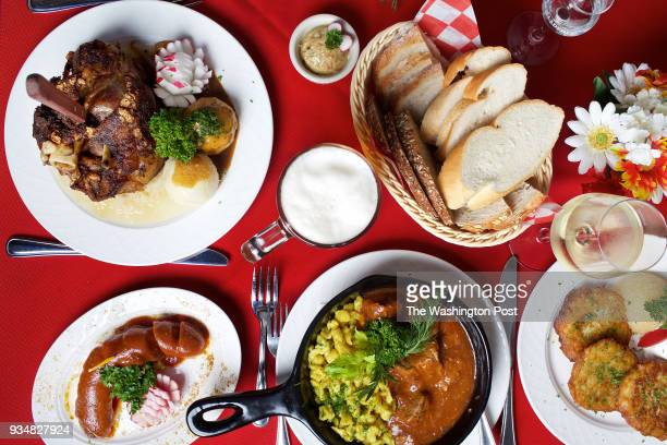 WASHINGTON DC An assortment of German food Schweinshaxe Bread with Schmalz Potato Pancakes with house made Applesauce and sour cream Beef Goulash...