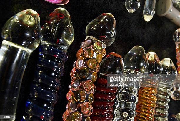 An assortment of glass dildos are seen on display at the AVN Adult Entertainment Expo January 9 2004 in Las Vegas Thousands attended the threeday...