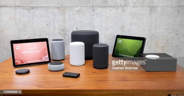 An assortment of newly launched devices including an 'Echo Input' 'Echo Show 'Echo Plus' 'Echo Sub' 'Echo Auto' and 'Firetv Recast' are pictured at...