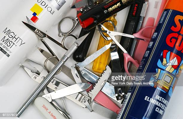 An assortment of potentially dangerous metal items which were carried through airport security checkpoints by Daily News reporters without incident...