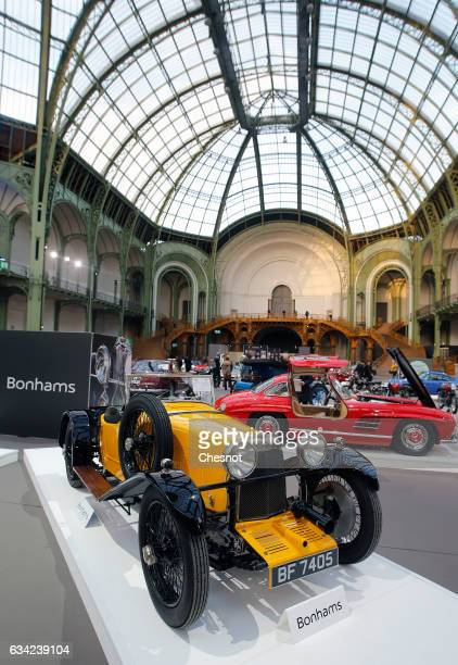 An Aston Martin 15 litre Standard Sports model 1928 is displayed during a press preview before a mass auction of vintage vehicles organised by...