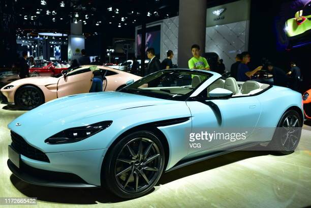 An Aston Martin car is displayed during the 22nd Chengdu Motor Show on its opening day at Western China International Expo City on September 5, 2019...