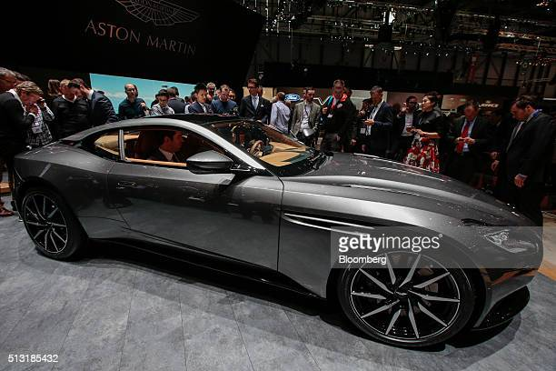 An Aston Martin DB11 automobile produced by Aston Martin sits on display on the first day of the 86th Geneva International Motor Show in Geneva...