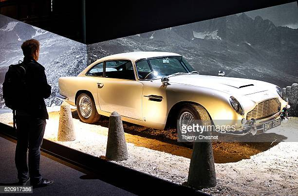 An Aston Martin DB5 from the James Bond film 'Goldfinger' is displayed as part of an exhibition dedicated to James Bond 007 'The Designing 007 Fifty...