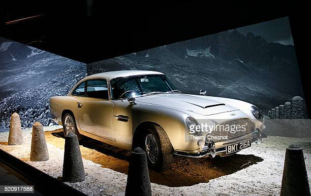 An Aston Martin DB5 from the James Bond film Goldfinger is displayed as part of an exhibition dedicated to James Bond 007 The Designing 007 Fifty...