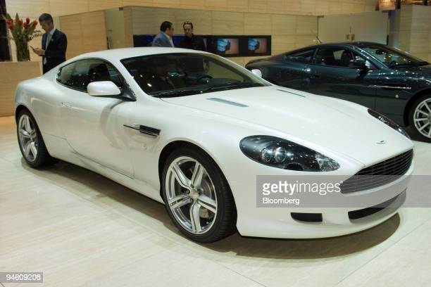 An Aston Martin DB9 coupe is seen on the second day of the media preview for the Geneva International Motor Show at the Palexpo conference center in...