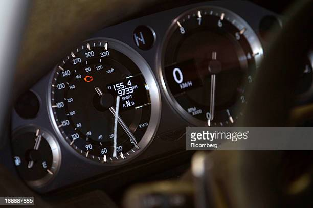 An Aston Martin GT4 racecar instrument cluster sits on display at Monticello motor club New York US on Thursday May 2 2013 This year marks Aston...