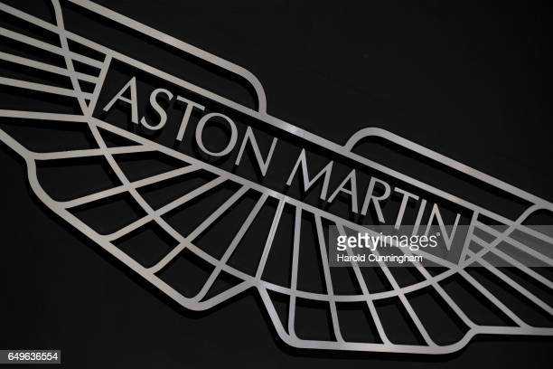 An Aston Martin logo is seen during the 87th Geneva International Motor Show on March 8 2017 in Geneva Switzerland The International Motor Show...