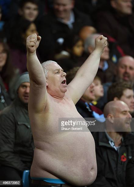 An Aston Villa fan shows his support during the Barclays Premier League match between Aston Villa and Manchester City at Villa Park on November 8...