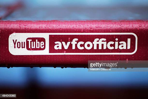 An Aston Villa official YouTube logo is seen in the rain prior to the Barclays Premier League match between Aston Villa and Swansea City at Villa...