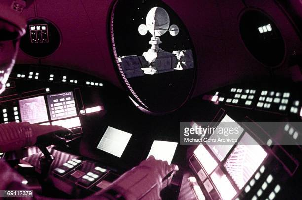 An astronaut controls the space station in a scene from the film '2001 A Space Odyssey' 1968