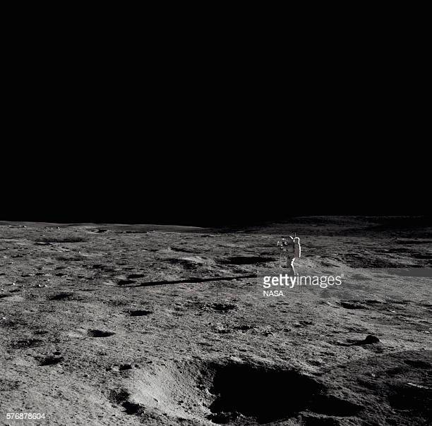 An astronaut on the Moon's surface during the Apollo 14 mission