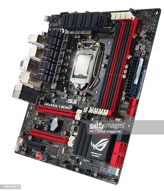 An Asus Republic of Gamers Z77 motherboard with an Intel i7 27k processor against a white background taken on April 10 2012