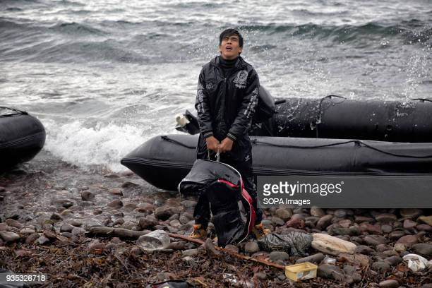 An asylumseeker arrives in Greece after traveling through a rainstorm and dangerous sea conditions In 2015 more than a million immigrants arrived in...