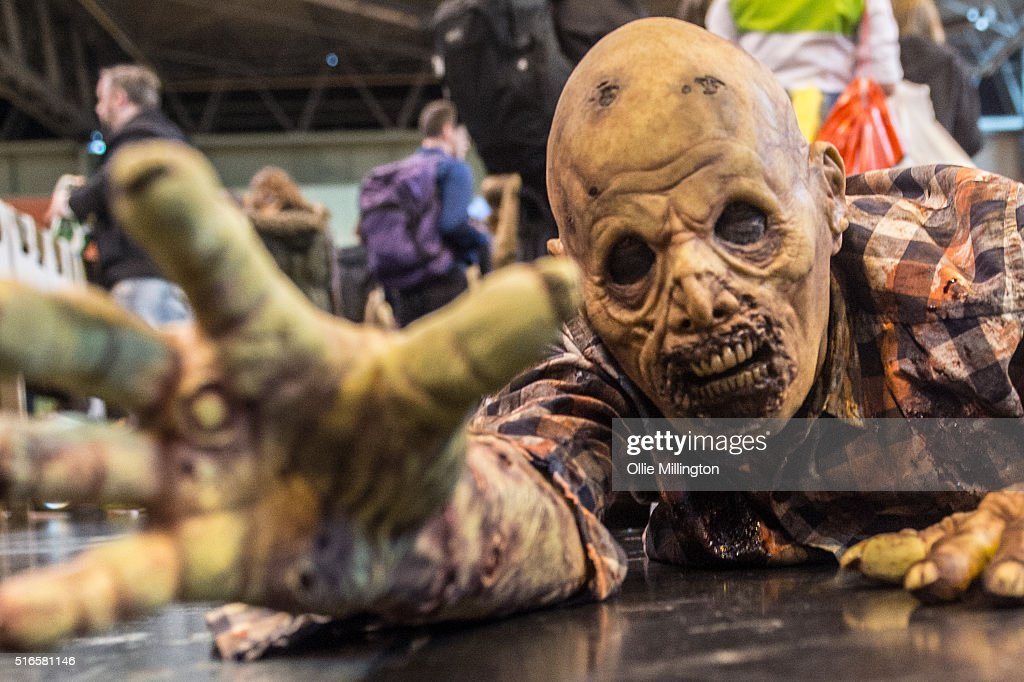 An atendee at Comic Con 2016 in cosplay as a zombie on March 19, 2016 in Birmingham, United Kingdom.