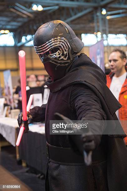 An atendee at Comic Con 2016 in cosplay as Kylo Ren from Star Wars The Force Awakens on March 19 2016 in Birmingham United Kingdom