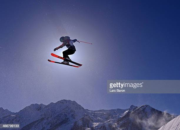 An athlet practices during training for Ski Slopestyle at the Extreme Park at Rosa Khutor Mountain on February 4, 2014 in Sochi, Russia.