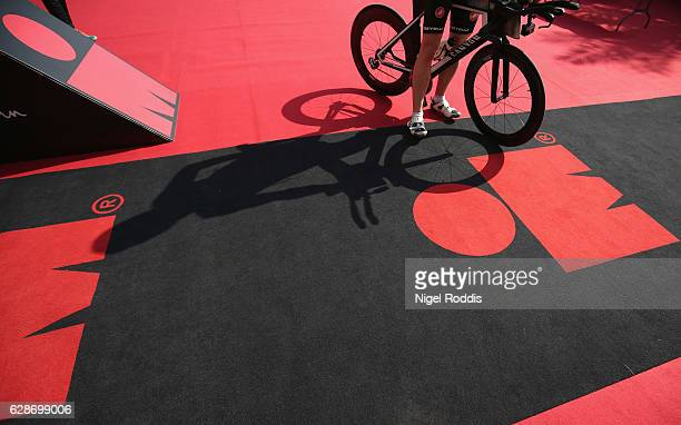 An athlete arrives ahead of the Ironman 703 Middle East Championship on December 9 2016 in Bahrain Bahrain