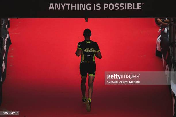 An athlete arrives to the finish line of the IRONMAN Barcelona on September 30 2017 in Calella Barcelona province Spain