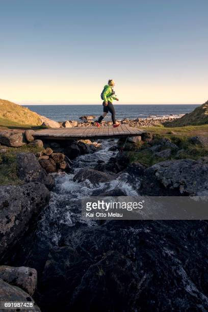 An athlete at The Arctic Triple Lofoten Ultra on June 3 2017 in Svolvar Norway The Arctic Triple Lofoten Ultra is the second of three races The...