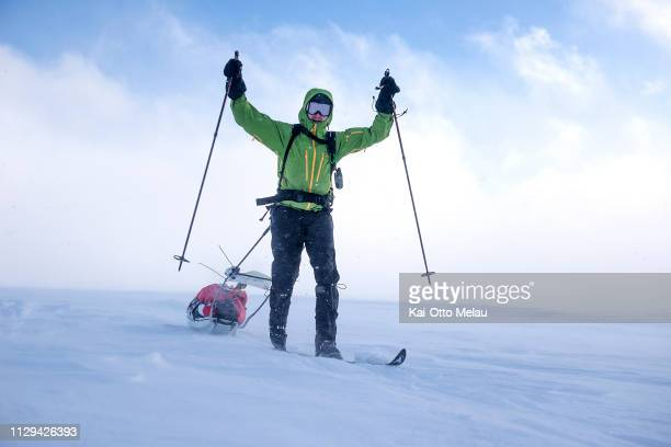 An athlete cheering at Expedition Amundsen on March 7 2019 in Eidfjord Norway Expedition Amundsen is known as the world's hardest expedition race...