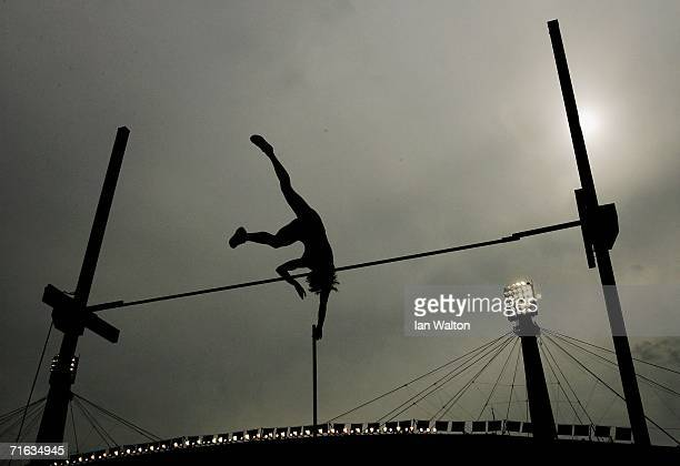 An athlete clears the bar during the Women's Pole Vault Final on day six of the 19th European Athletics Championships at the Ullevi Stadium on August...