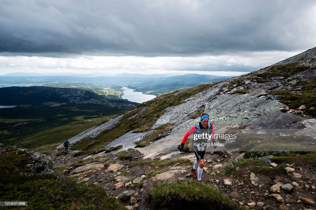 An athlete climbing the mountain at Swedeman Extreme Triathlon on August 11, 2018 in Are, Sweden. Swedeman is part of the Xtri World Tour.