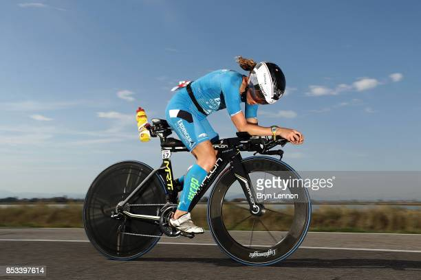 An athlete compete in the bike leg of IRONMAN Italy Emilia Romagna on September 23 2017 in Cervia Italy