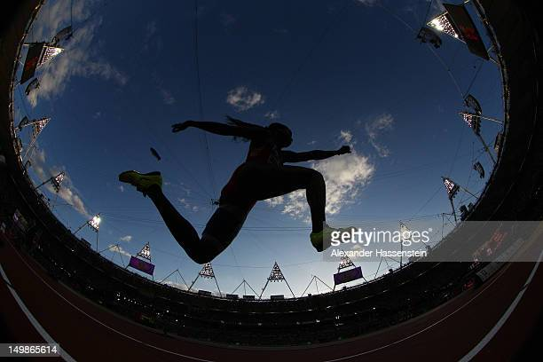 An athlete compete in the Women's Triple Jump Final on Day 9 of the London 2012 Olympic Games at the Olympic Stadium on August 5 2012 in London...