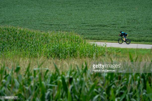 An athlete competes during the bike portion of the IRONMAN Wisconsin on September 8 2019 in Madison Wisconsin The IRONMAN Wisconsin triathlon returns...