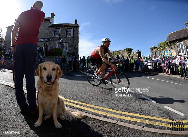 An athlete competes during the bike section of at Ironman Wales on September 13 2015 in Pembroke Wales