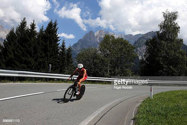 An athlete competes during the bike section of Ironman 703 Zell am See Kaprun on August 28 2016 in Zell am See Austria